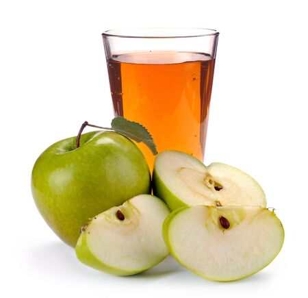 carafe: apple juice in a glass of fruit Stock Photo