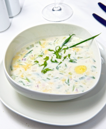 potato soup: russian cold vegetable soup on yogurt (sour-milk) base - okroshka Stock Photo