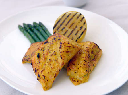 grilled salmon with asparagus and lemon photo