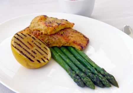 grilled salmon with asparagus and lemon Stock Photo - 14245201