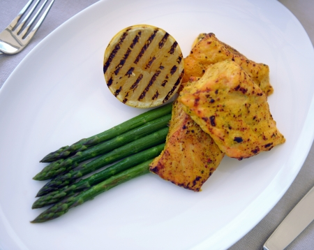 grilled salmon with asparagus and lemon Stock Photo - 14291643