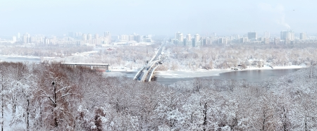 dniper: Winter panorama of Kiev and the Dnieper River Stock Photo