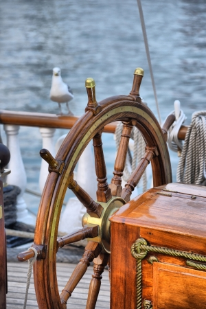 steering wheel sailboat photo