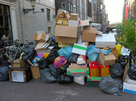 dump garbage on the streets of the city Stock Photo