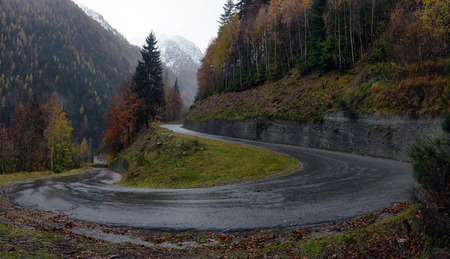four peaks wilderness: mountain road in the Alps in the fall