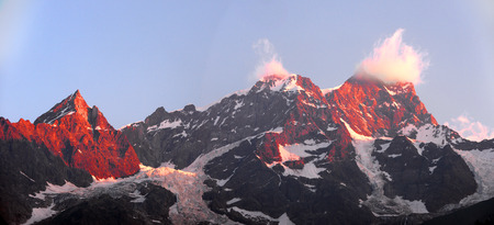 monte: view of the peaks of Monte Rosa at sunrise