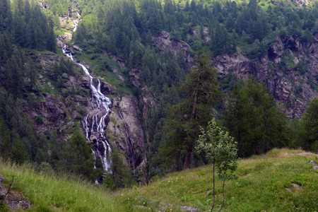 rosa: Waterfall in the national park of Monte Rosa