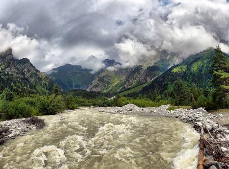 svan: mountain landscape with mountain river Svaneti Georgia