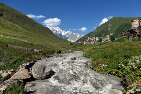 swanetia: landscape with Caucasus Shkhara mountain in the upper Svaneti region