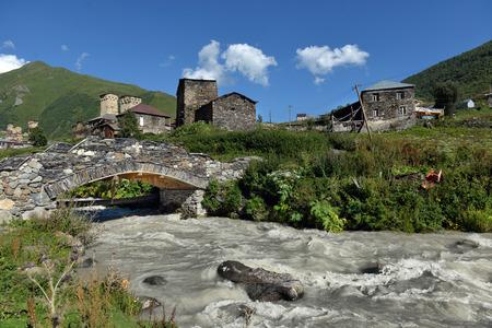 shkhara: landscape with Caucasus Shkhara mountain in the upper Svaneti region