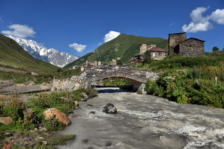 landscape with Caucasus Shkhara mountain in the upper Svaneti region