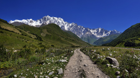 shkhara: landscape with Caucasus Shkhara mountain seen from Ushguli village in the upper Svaneti region, Georgia