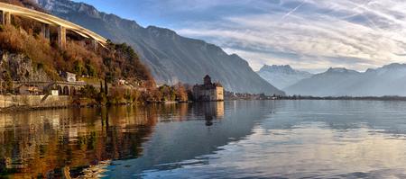 Vue du célèbre château de Chillon au bord du lac Léman, l'un des Suisse. Canton de Montreux Suisse