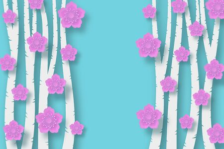 Paper style cut in layers. Tree trunks on a light blue background. Pink cherry or plum flowers. With the shadows.