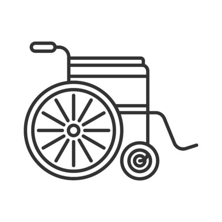 Simple medical linear icon on a white background. Disabled carriage. Gray lines. Иллюстрация