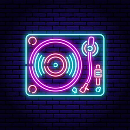 Turntable, vinyl record player. Neon sign on a brick wall background. Blue violet red colors