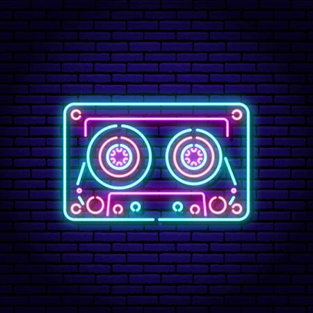 Music cassette. Neon sign on a brick wall background. Blue violet red colors Иллюстрация