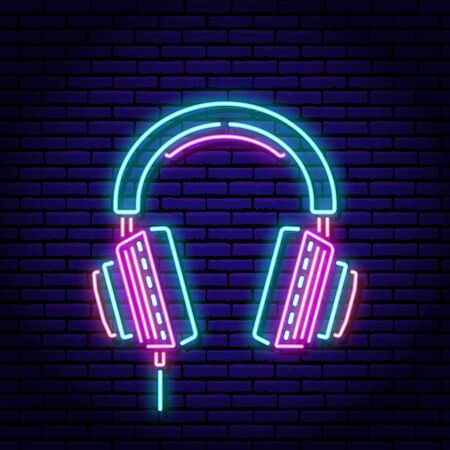 Music headphones. Neon sign on a brick wall background. Blue violet red colors