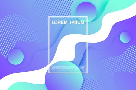 Fashionable liquid flyers background. For an invitation, for advertising, to attract customers. Gradients lilac turquoise color. With a shadow. Ilustração