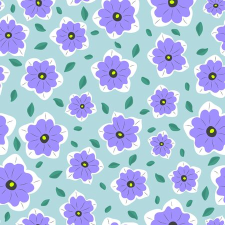 Seamless simple pattern. Minimal style. Lilac flowers and green leaves on a light green background. Çizim