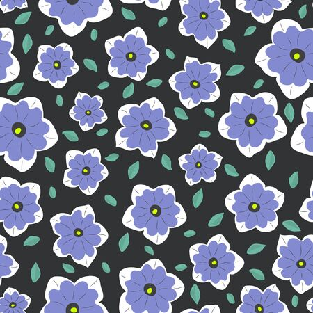 Seamless simple pattern. Minimal style. Lilac flowers and green leaves against a dark background. Çizim