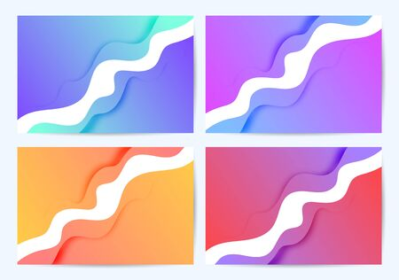Set of four fashionable liquid flyers. For an invitation, for advertising, to attract customers. Multicolored gradients. With a shadow.