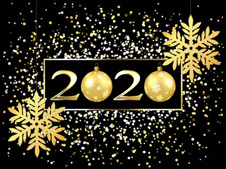 Plate with a gold frame, with metal numerals. 2020 new year. Brilliant snowflakes on the thread, highlights, flashing lights, a toy ball. For design.