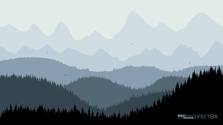 Tranquil backdrop, pine forests, mountains in the background. The blue tone, flying birds.