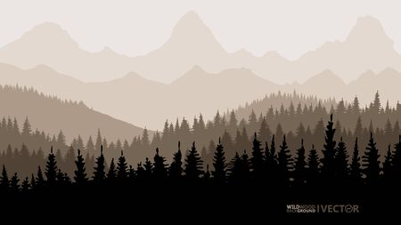 Tranquil backdrop, pine forests, mountains in the background. Beige tones.