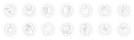 A set of fourteen logos of different hand gestures. In linear rays. Hand drawn, sketch. For your design. Isolated. Black lines, white background. 10 eps Foto de archivo - 131349365