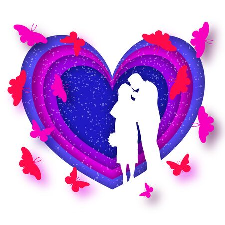 Origami greeting card for Valentines day. Newlyweds kiss, on the background of the heart and flying butterflies. Violet and blue colors. confetti. Paper style. 10 eps Illustration