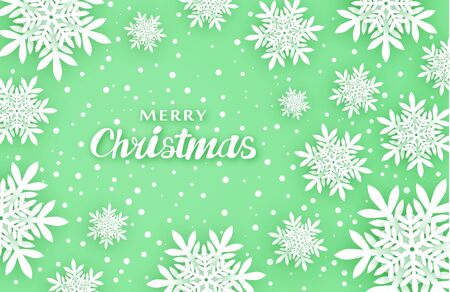 New Year, Christmas background. Creates comfort. Volumetric snowflakes with shadows in green tones. For congratulations and design. 10 eps