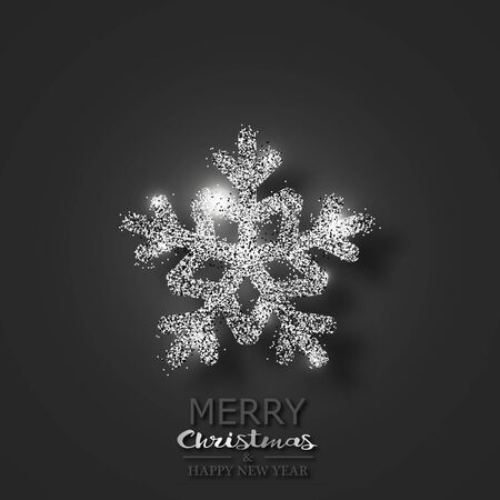 Snowflake with sparkles and highlights on a black background. Greeting Christmas card. For your design. 10 eps Stok Fotoğraf - 131349087
