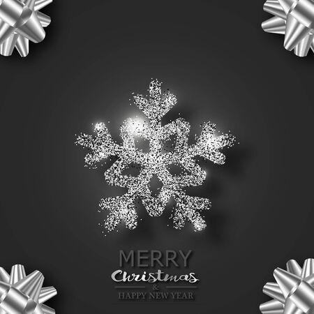 Snowflake with sparkles and highlights on a black background. Greeting Christmas card. In the corners of the bows of silver ribbons. For your design. 10 eps