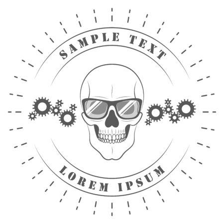 Skull in glasses. On white background for your design. Gears, nuts. Car service, workshop. 10 eps Illustration