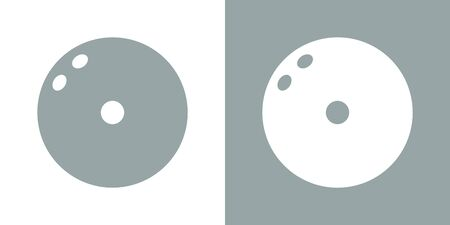 A set of two variants of simple bowling ball icons. On a white and gray background. Strike. 10 eps Ilustração