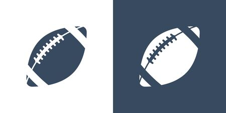 A set of two variations of simple ball icons for American football. On a white and dark blue background. Rugby. Lacing. 10 eps Ilustração