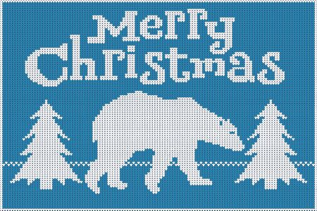 Merry Christmas. Knitted sweater, blue and white, featuring a polar bear and Christmas trees. 10 eps