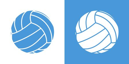 A set of two variants of simple volleyball ball icons. On white and on a blue background. 10 eps