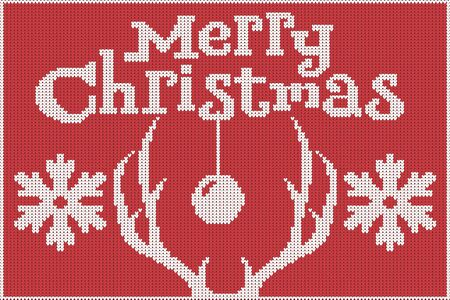Merry Christmas. Knitted sweater, red and white, with depictions of deer antlers and snowflakes. 10 eps Ilustrace