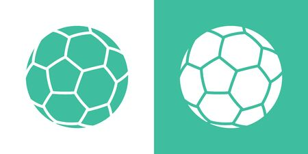 A set of two variants of simple soccer ball icons. On white and on a green background. 10 eps