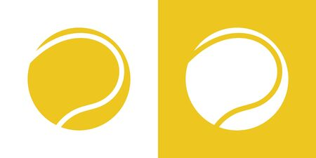 A set of two variations of simple tennis ball icons. On white and on a yellow background. 10 eps