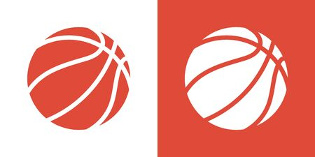 A set of two variants of simple basketball ball icons. On white and on an orange background. 10 eps
