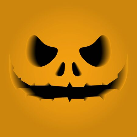 Face features carved on a pumpkin. The volume, 3D. Horror, fear, panic. Halloween. The black gap. 10 eps Çizim