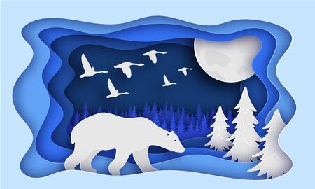 Polar bear is in the winter forest. Past The Trees. Night, moon. Birds fly away. New year. Paper style. Blue tones. 10 eps Çizim