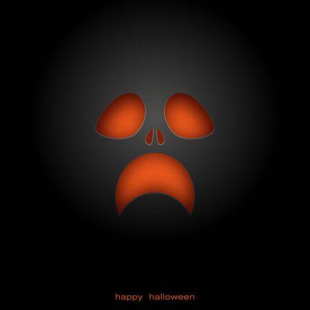 Le visage terrible et volumineux du démon. Sur fond noir. Halloween. Yeux et bouche orange. Horreur. Avec l'ombre. 10eps