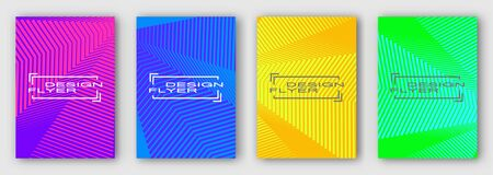 Set of four brochures, posters, flyers. Multi colored geometric lines with curves. Purple blue orange green. For your design. 10 eps