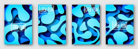 Set of four brochures, posters, flyers. Three dimensional shape with the shadow. Paper style. Blue tones.  For your design. 10 eps  Ilustração
