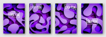 Set of four brochures, posters, flyers. Three dimensional shape with the shadow. Paper style. Purple tones.  For your design. 10 eps Ilustração