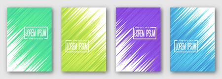 Set of four brochures, posters, flyers. Green yellow purple blue stripes diagonally.  For your design. 10 eps